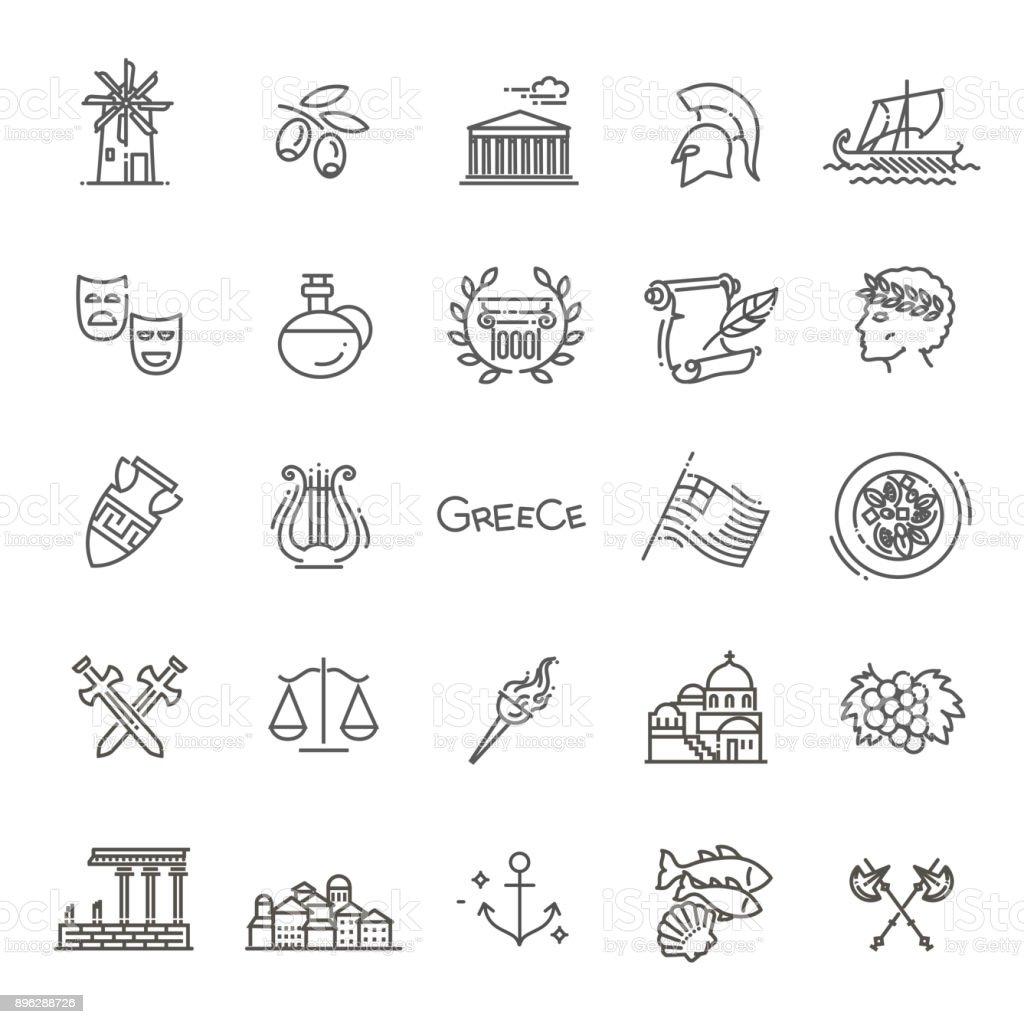 Greece line icon set.Vector vector art illustration