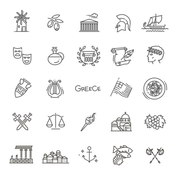 Greece line icon set.Vector Ancient, Greek civilization. Art and culture vector icon set ancient greece stock illustrations