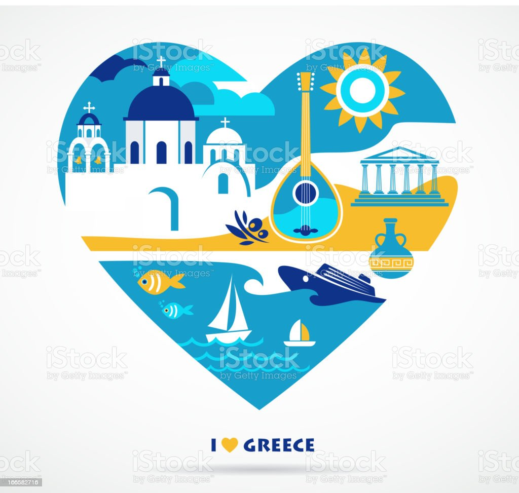 Greece love vector art illustration