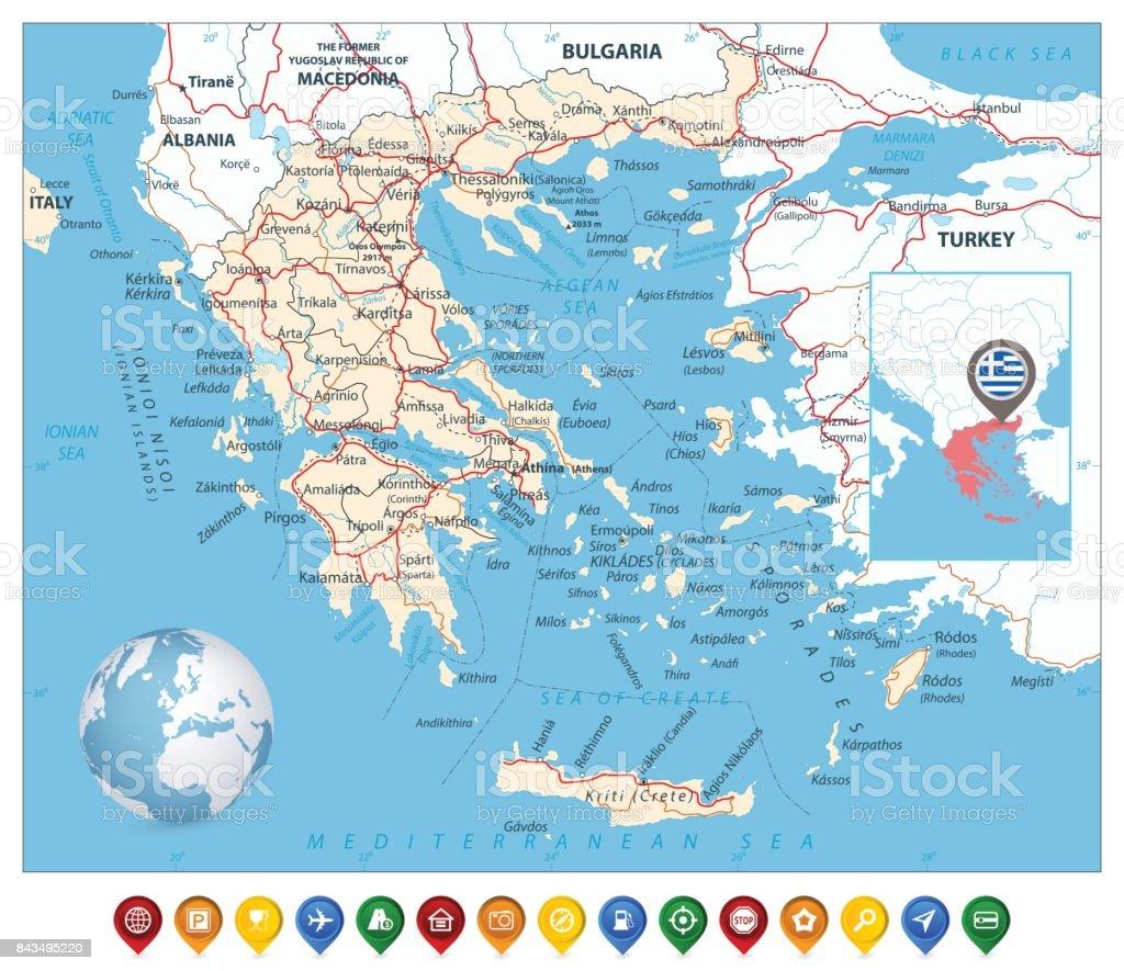Karta Europa Grekland.Grekland Karta Och Fargglada Karta Markorer Vektorgrafik Och Fler