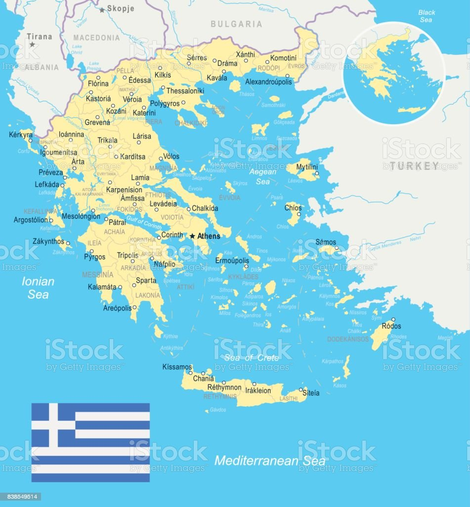 Greece Map And Flag Illustration Stock Vector Art More Images of