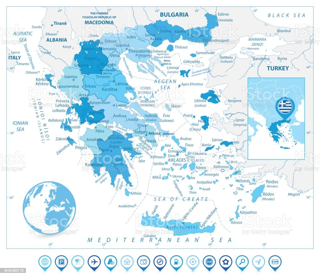 Greece Map And Map Markers In Colors Of Blue Stock