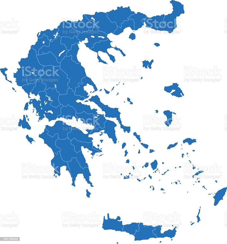 Greece map blue on white background