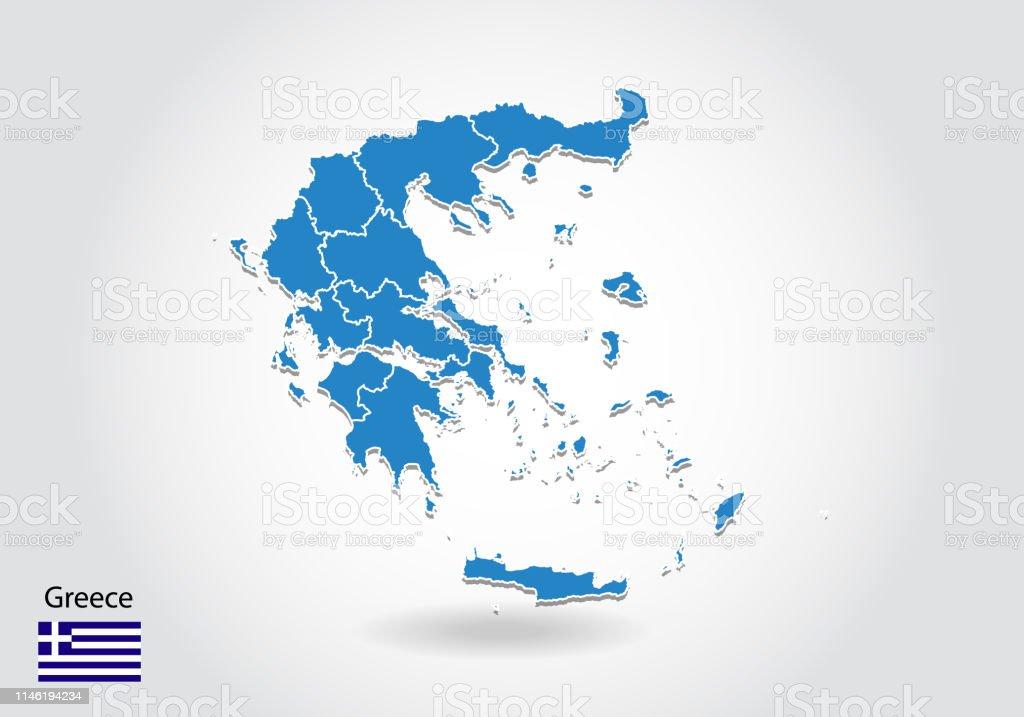 Greece Map Design With 3d Style Blaue Greecekarte Und ...