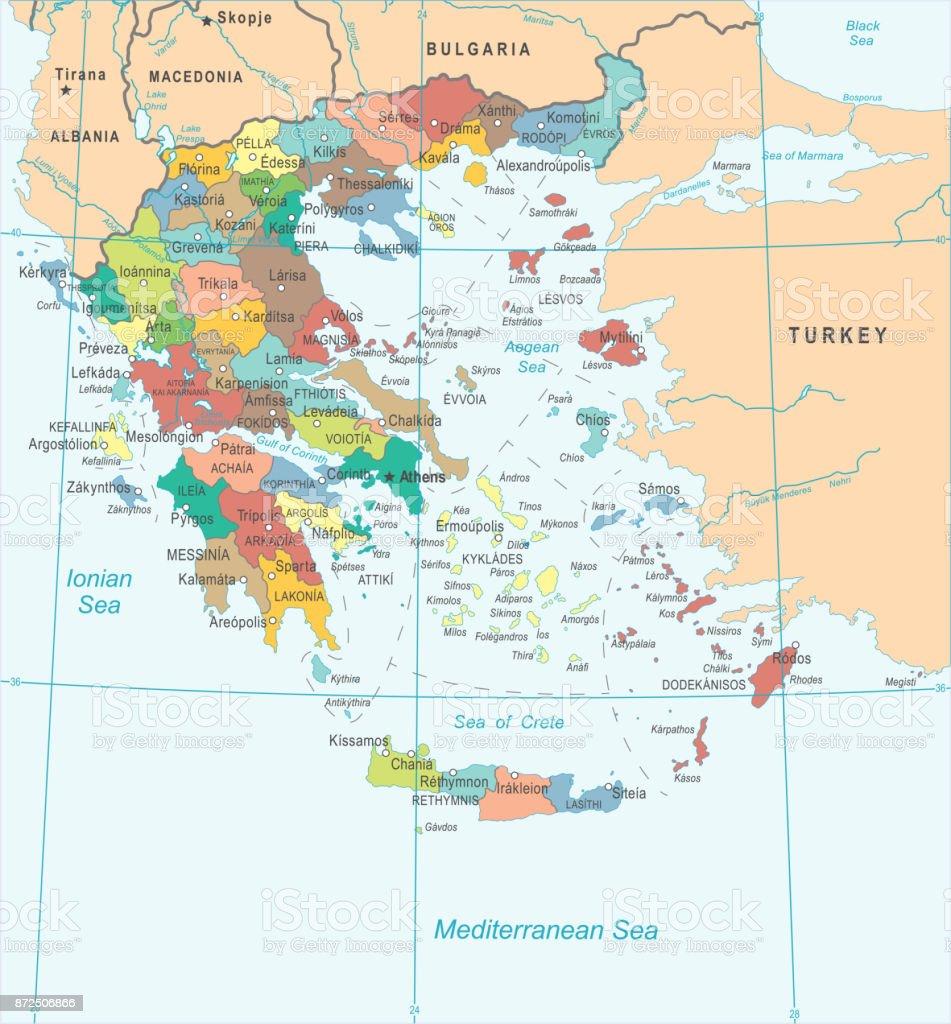 Karte Griechenland.Griechenland Karte Detaillierte Vektorillustration Stock Vektor Art