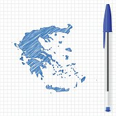 Map of Greece drawn with ballpoint pen, isolated on a squared paper sheet.