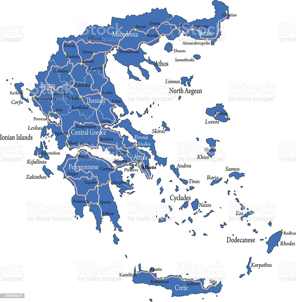 Greece map vector art illustration