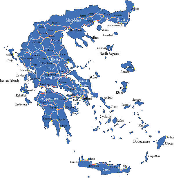 greece map - macedonia country stock illustrations, clip art, cartoons, & icons