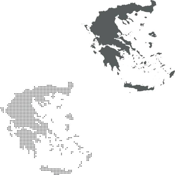 Greece map – artystyczna grafika wektorowa