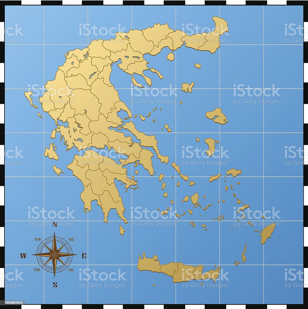 Griechenland Karte Inseln Deutsch.Griechenland Karte Mit Kompass Rose Stock Vektor Art Und