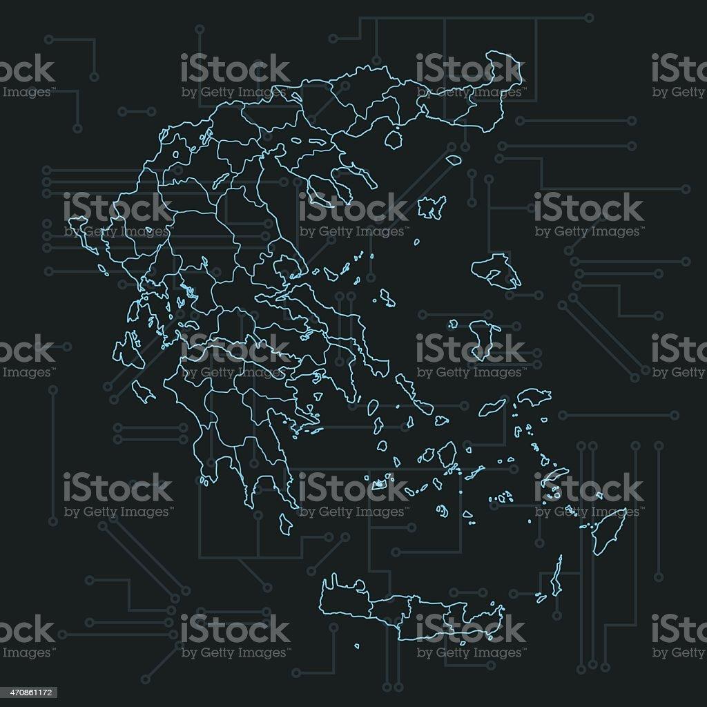 Circuito Grecia : Grecia mapa con países en oscuro fondo de placa de circuito arte