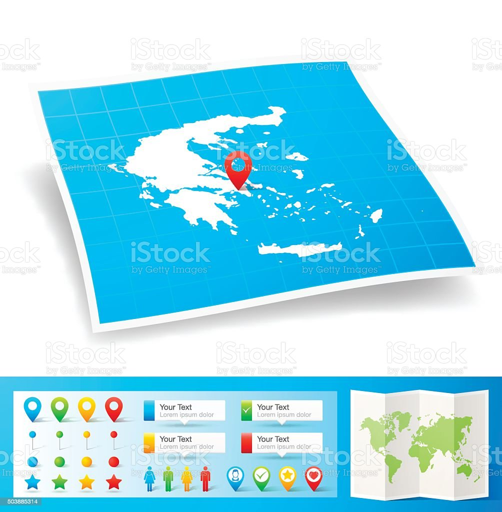 Greece Map with location pins isolated on white Background vector art illustration