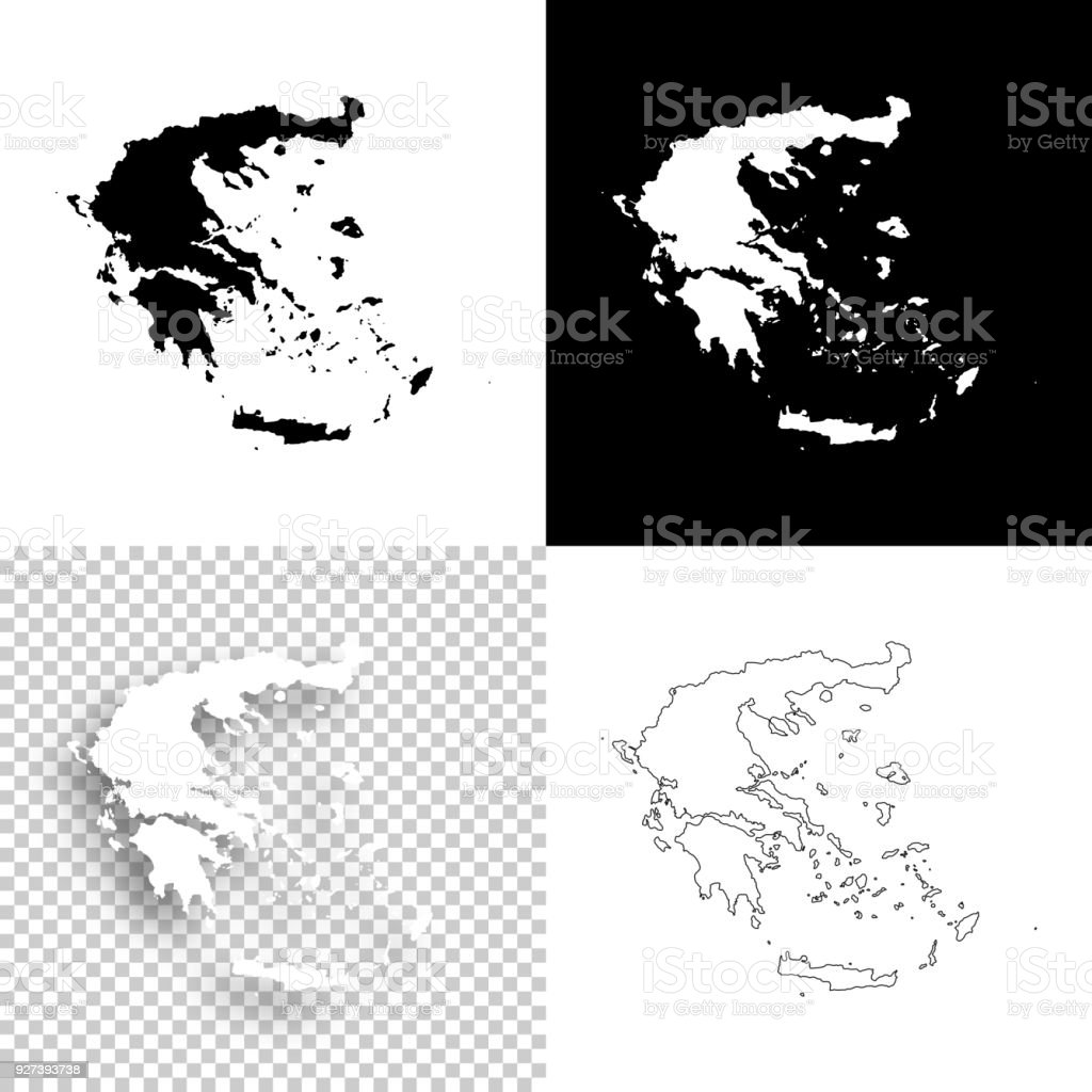 Greece Map Blank.Greece Maps For Design Blank White And Black Backgrounds Stock