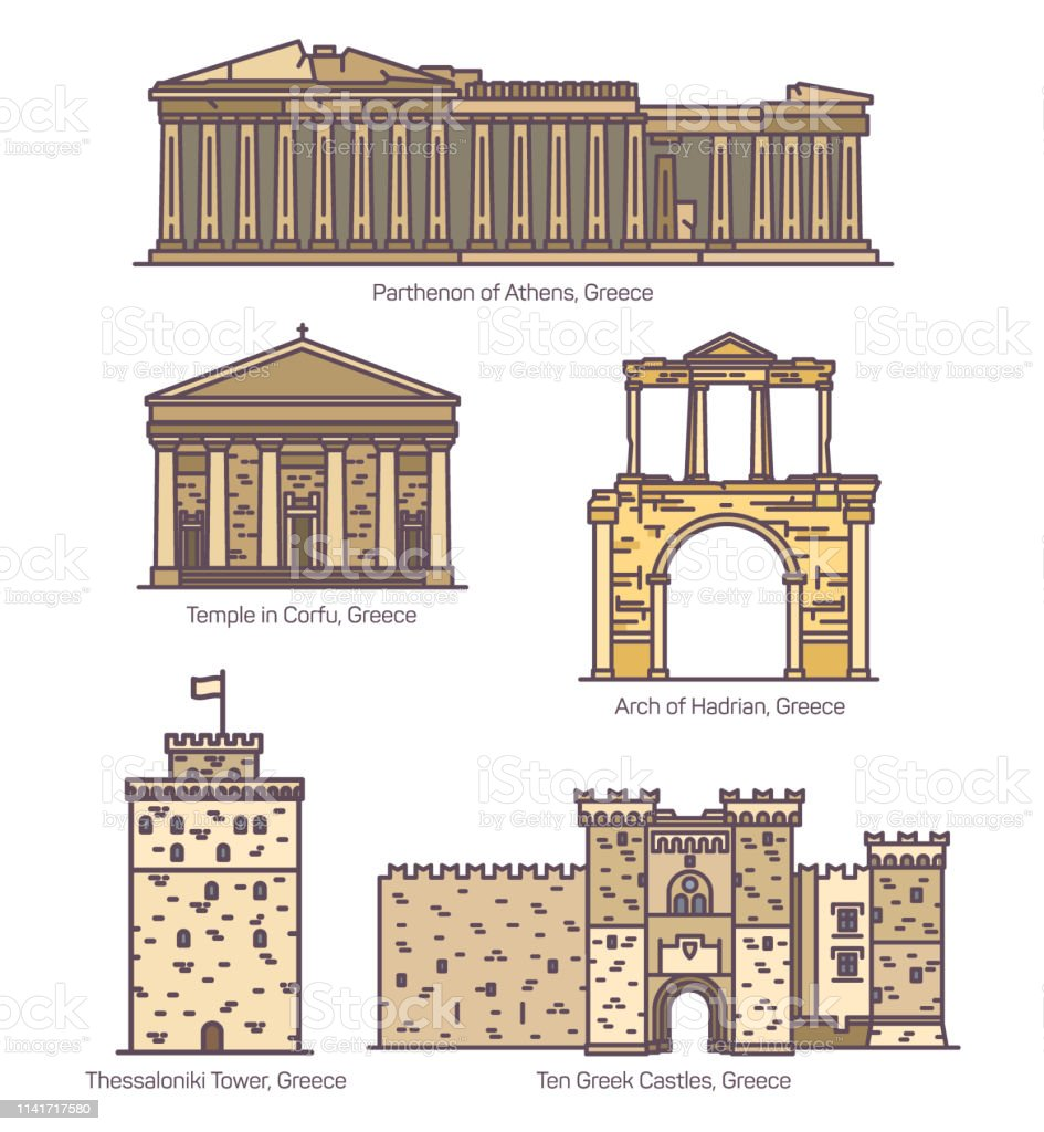 Greece Or Greek Famous Line Architecture Monuments Stock
