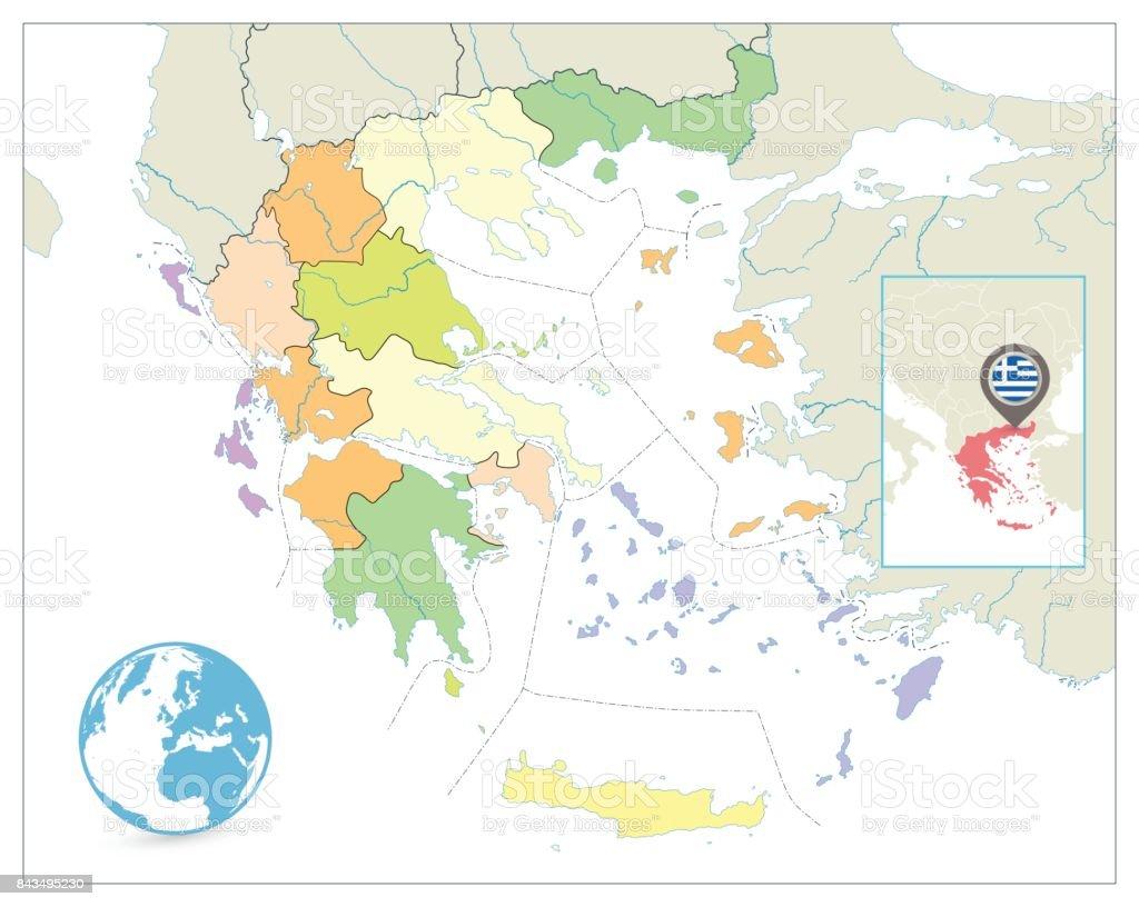 Karta Europa Grekland.Grekland Politiska Karta Isolerade Pa Vitt Ingen Text Vektorgrafik