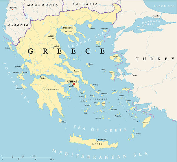 greece political map - macedonia country stock illustrations, clip art, cartoons, & icons