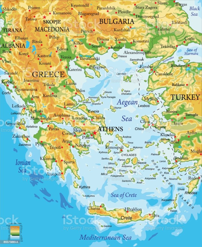 Greece Relief Map Stock Illustration Download Image Now