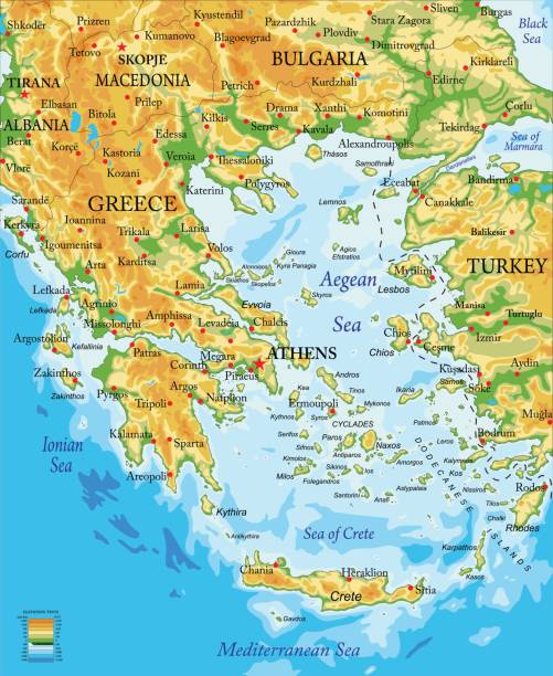 greece relief map - macedonia country stock illustrations, clip art, cartoons, & icons
