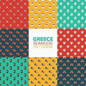 Greece Seamless Pattern Set