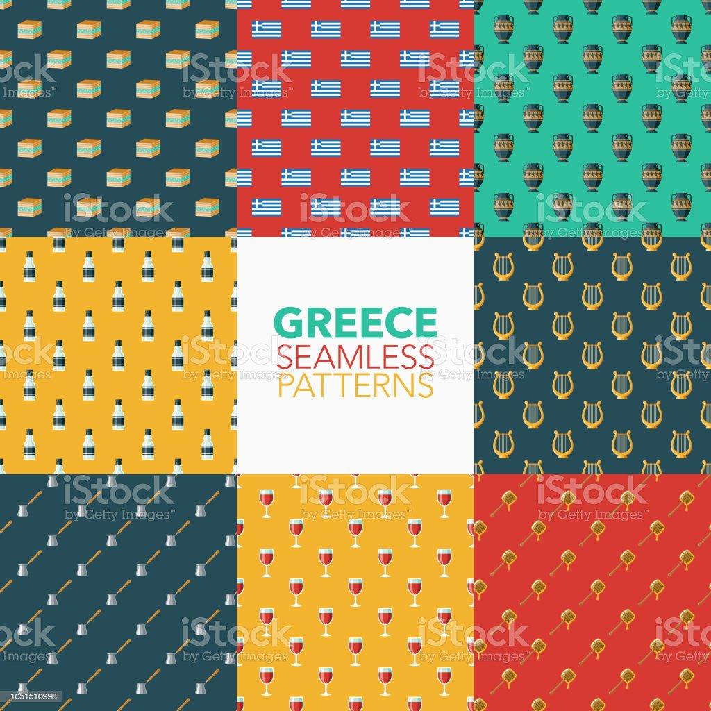 Greece Seamless Pattern Set vector art illustration