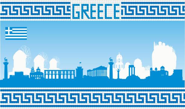 stockillustraties, clipart, cartoons en iconen met griekenland skyline - athens