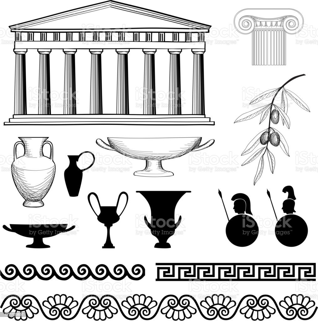 Greece symbol and ornament set. royalty-free stock vector art