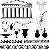 Greece symbol and ornament set.