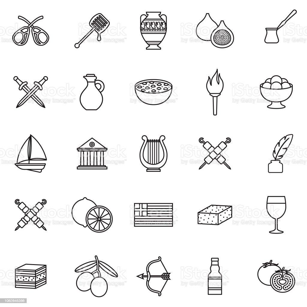 Greece Thin Line Outline Icon Set vector art illustration