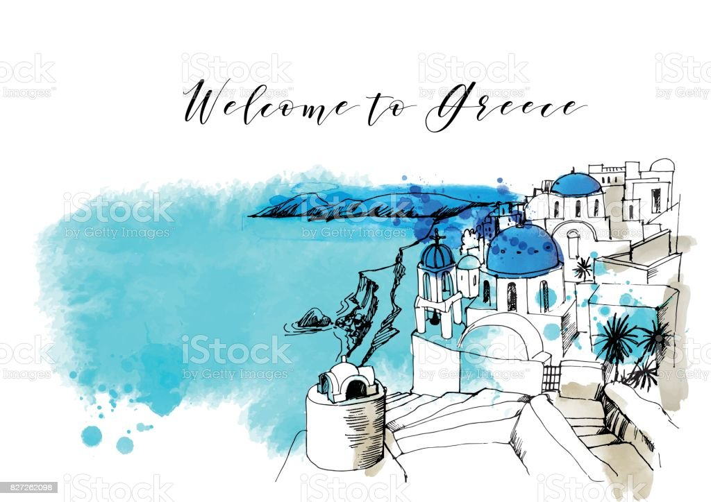 Greece vector art illustration