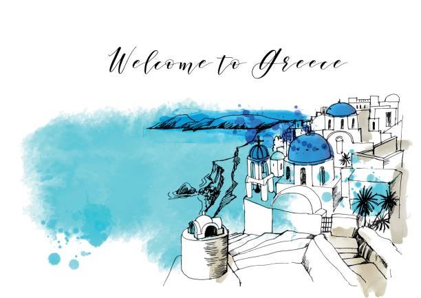 bildbanksillustrationer, clip art samt tecknat material och ikoner med grekland - santorini