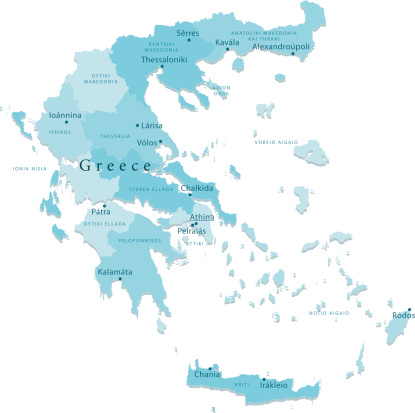 Greece Vector Map Regions Isolated