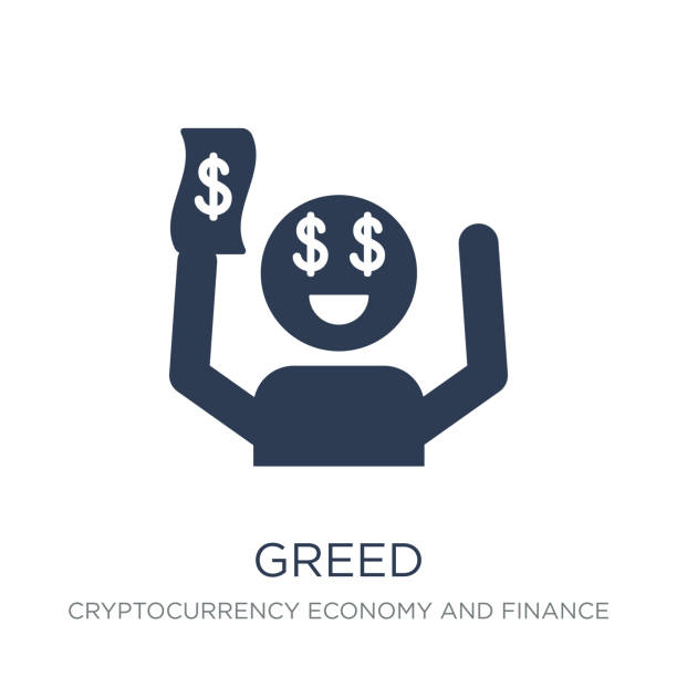 Greed icon. Trendy flat vector Greed icon on white background from Cryptocurrency economy and finance collection Greed icon. Trendy flat vector Greed icon on white background from Cryptocurrency economy and finance collection, vector illustration can be use for web and mobile, eps10 alimony stock illustrations