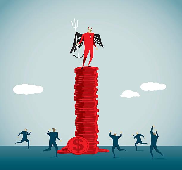 greed - evil money stock illustrations, clip art, cartoons, & icons