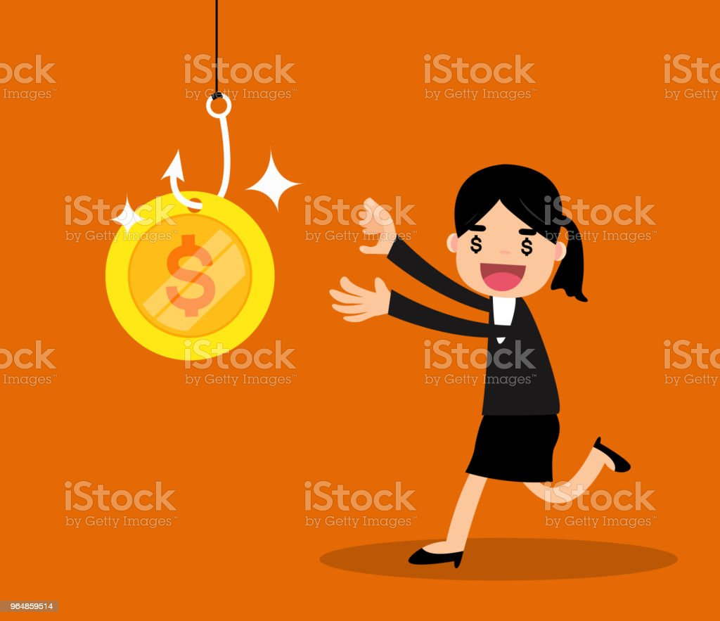 Greedy business people running to money on hook trap. royalty-free greedy business people running to money on hook trap stock vector art & more images of adult
