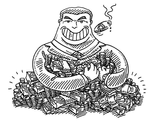 Greedy Businessman Cartoon Drawing Hand-drawn vector drawing of a Greedy Businessman Cartoon with a heap of money. Black-and-White sketch on a transparent background (.eps-file). Included files are EPS (v10) and Hi-Res JPG. cartoon character figure stock illustrations