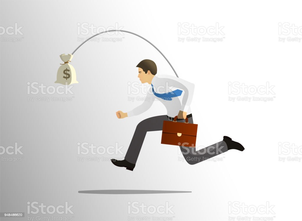 Greedy businessman running after bag of money vector art illustration