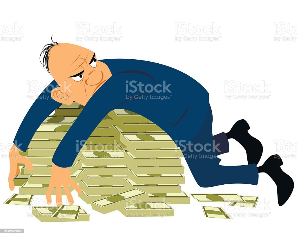 Greedy businessman with a bunch of money vector art illustration