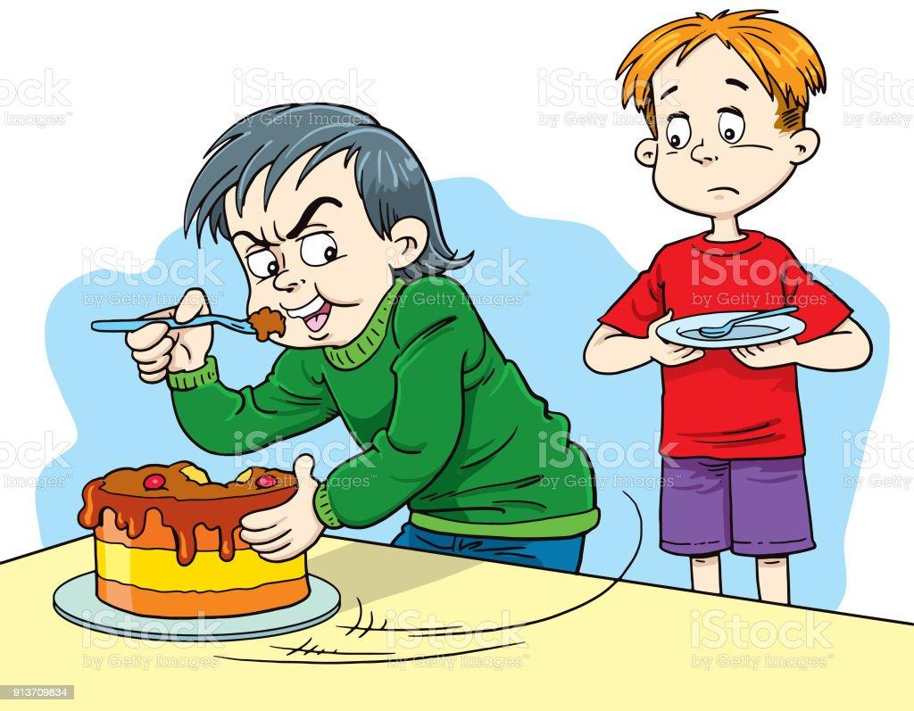 Gieriger Cartoon Junge Wollte Nicht Seinen Kuchen Teilen Stock