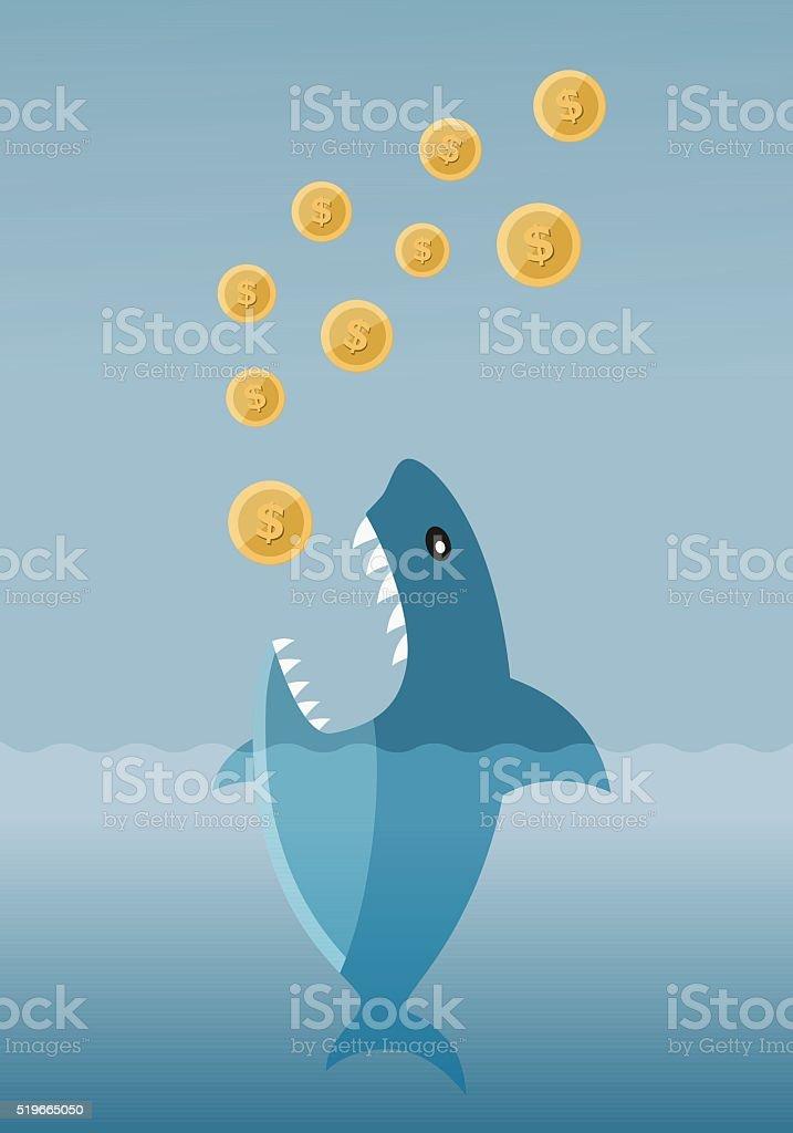 Gierig Darlehen Hai – Vektorgrafik