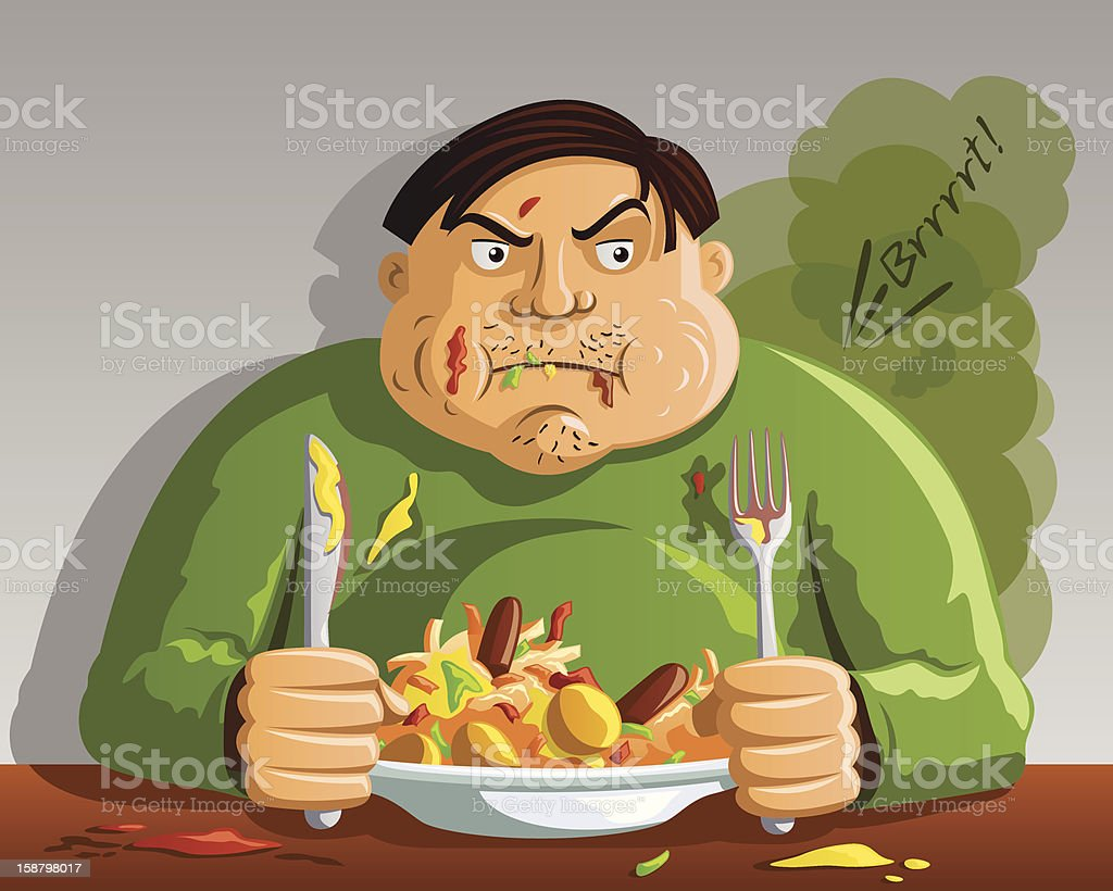 Greedy Man Overeating royalty-free stock vector art