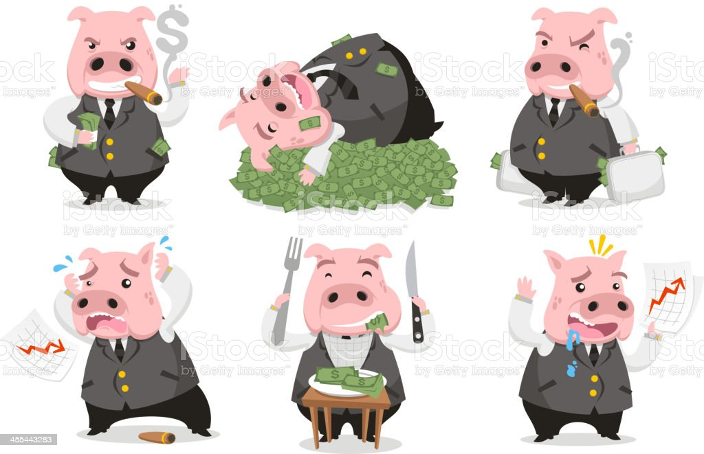 Greedy Pig Rich Banker in love with money vector art illustration