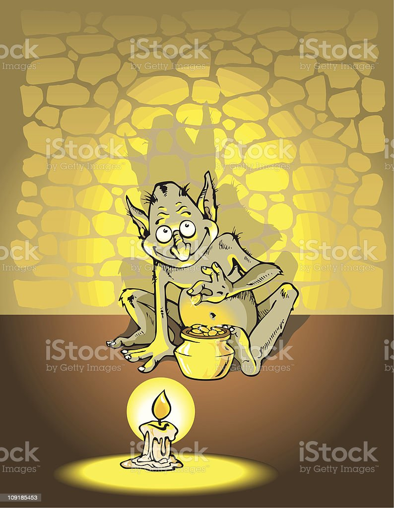 Greedy troll royalty-free stock vector art