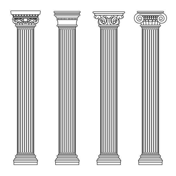 Greek and roman architecture classic stone colomns. Outline vector illustration vector art illustration