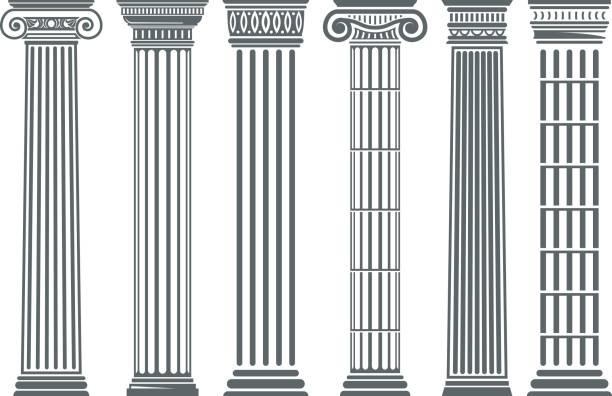 Greek and Roman columns set Greek and Roman columns set, temple building element, elegant architecture and classical decoration. Vector flat style illustration isolated on white background ancient greece stock illustrations