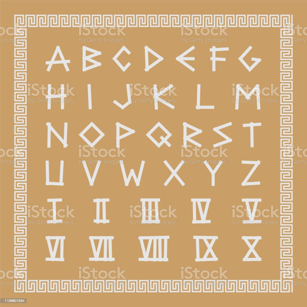 Greek Antique Font Trendy English Creative Alphabet Ancient Latin