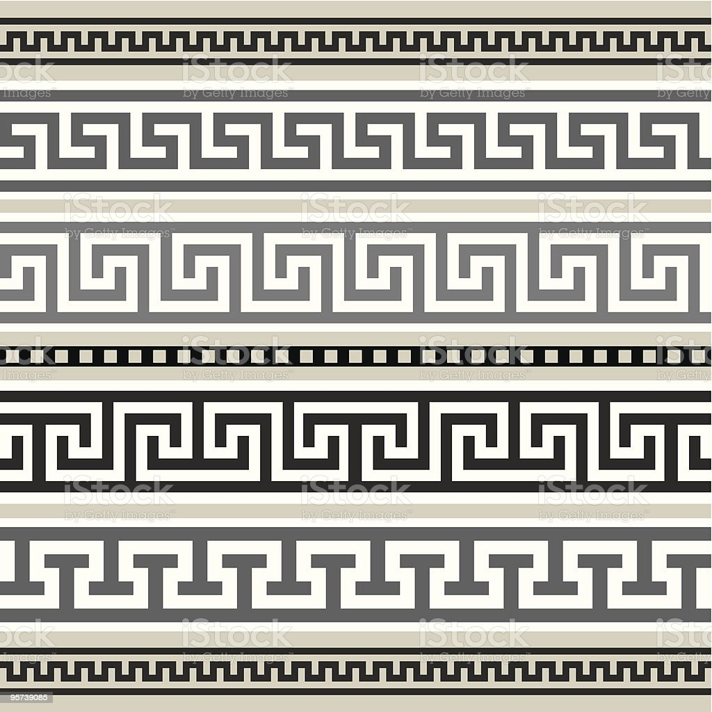 Greek borders collection vector art illustration