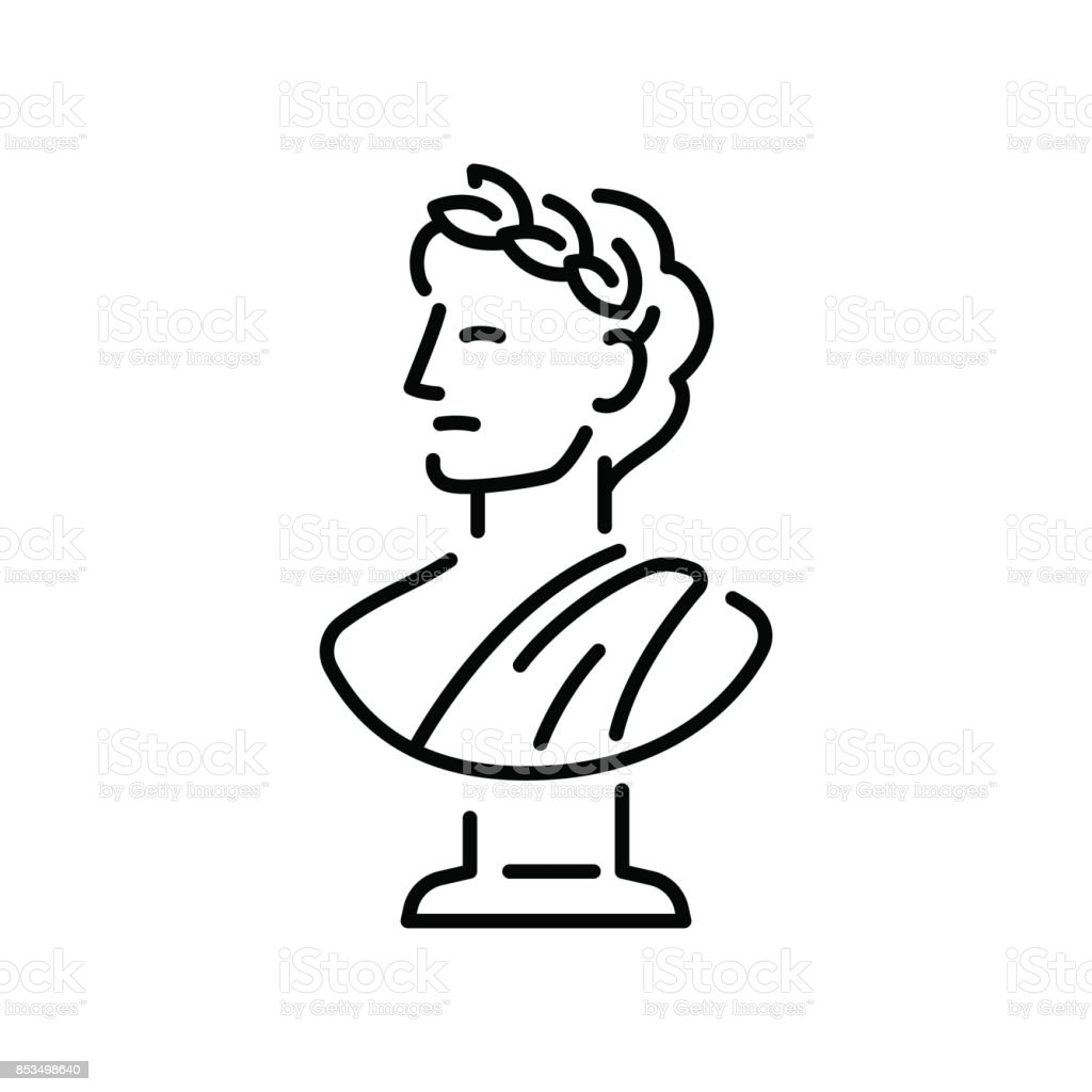 Greek bust sculpture vector art illustration