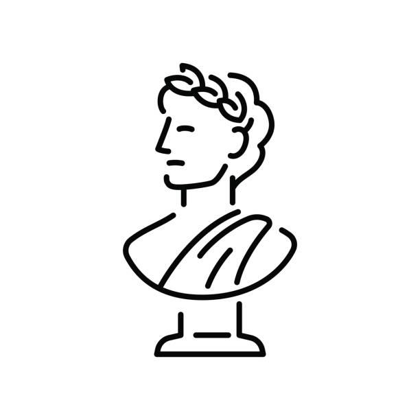 Greek bust sculpture vector art illustration