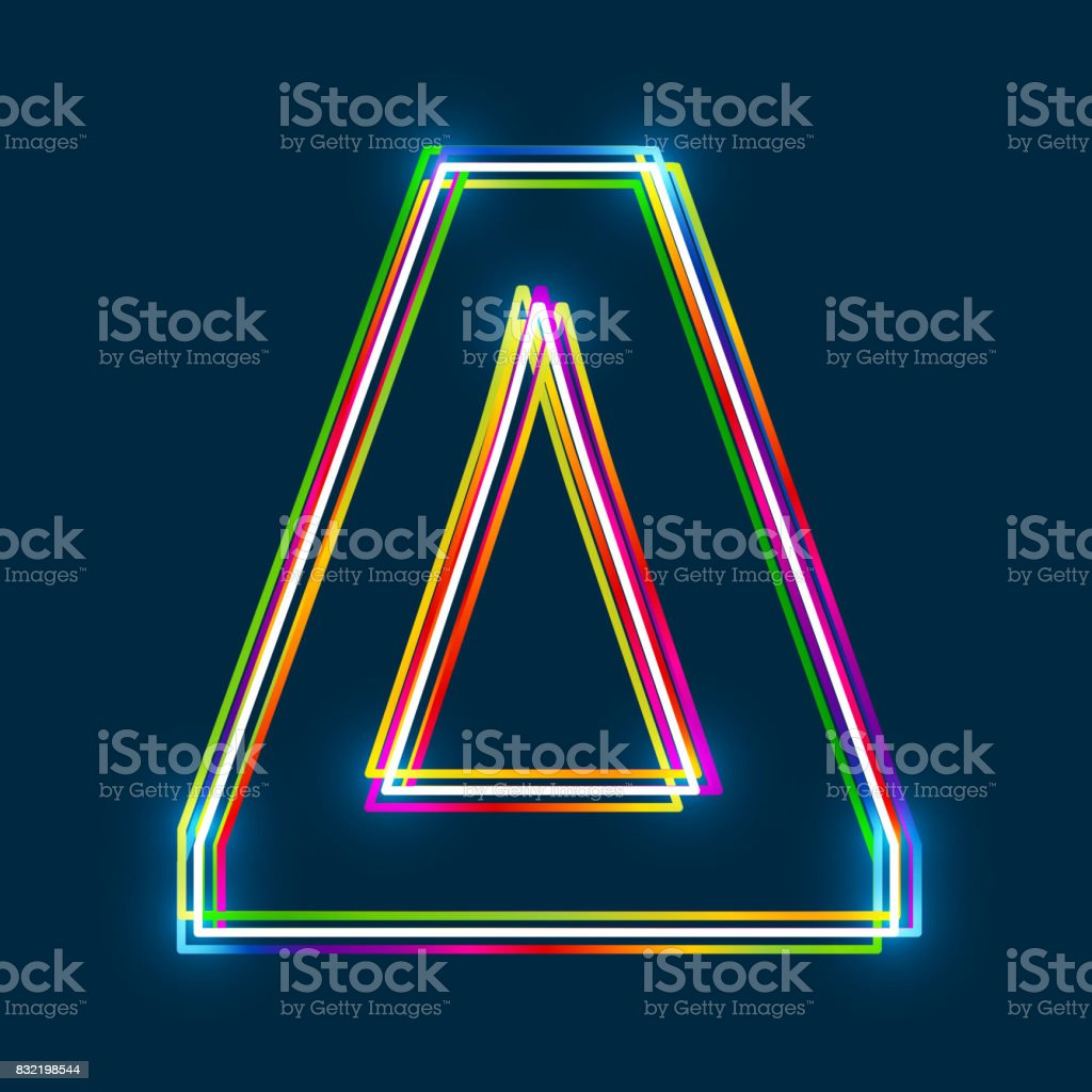 Greek Capital Letter Delta Multicolor Outline Font With Glowing