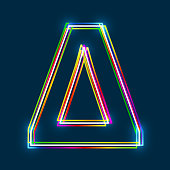 Greek Capital Letter Delta. Multicolor outline font with glowing effect on blue background.